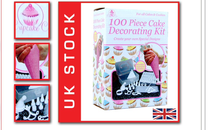 100 PC PIECE CAKE DECORATING SET + CASE + LETTERS +MORE